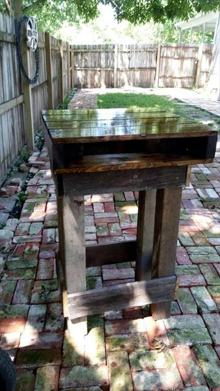 rustic wooden pallet outdoor bar table