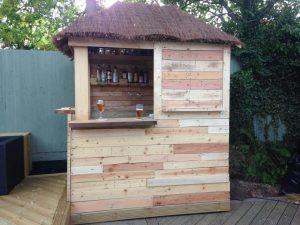 handcrafted wooden pallet deck bar