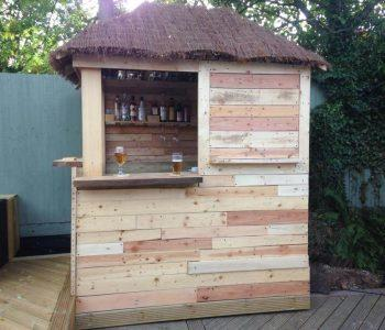 handcrafted wooden pallet deck bar