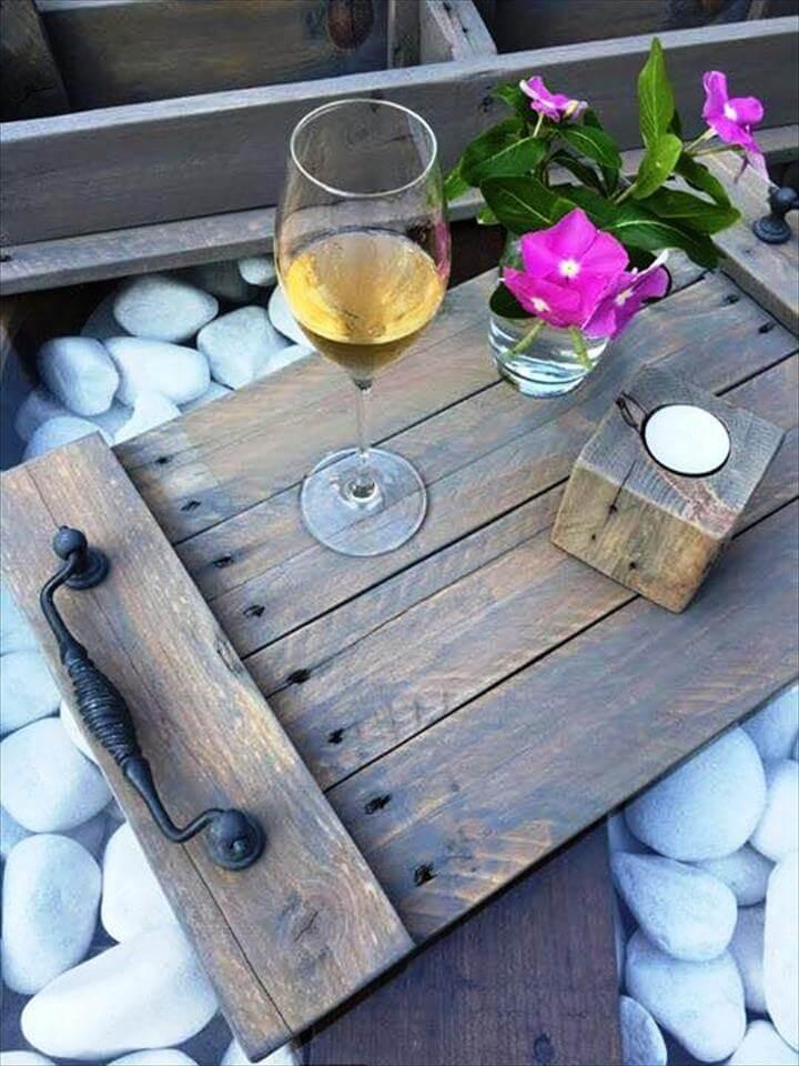 wooden pallet tray with candle holder