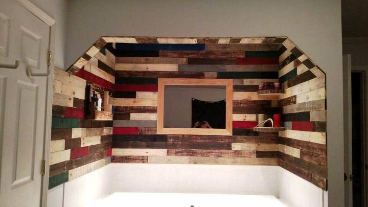 reclaimed pallet wall paneling project around the jacuzzi bath tub
