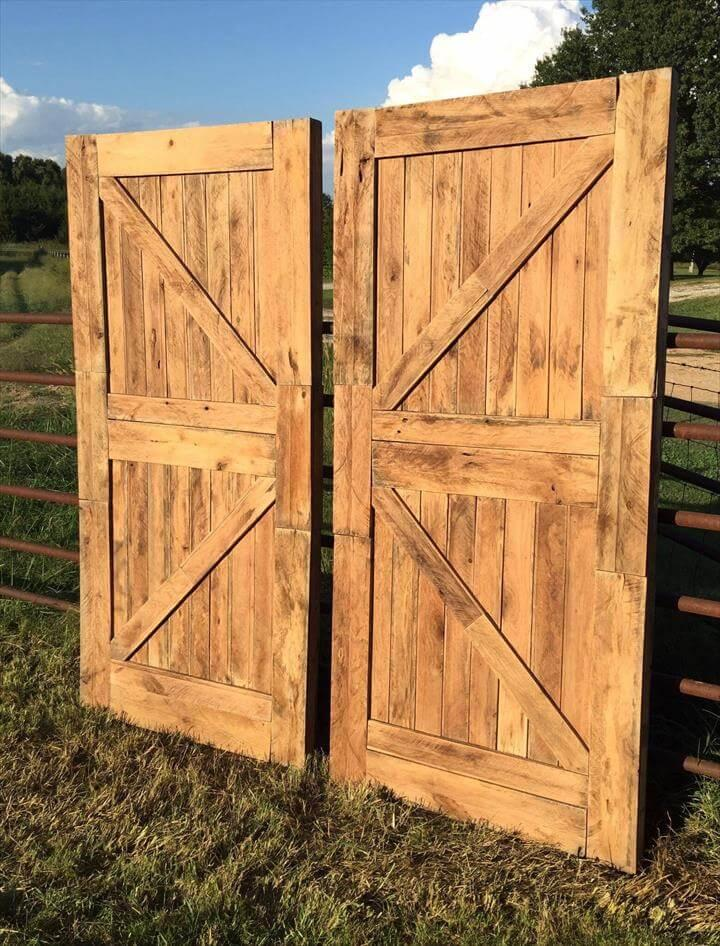 low-cost wooden pallet doors