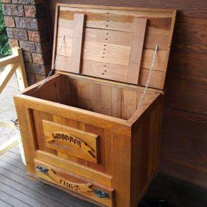 hand-built wooden pallet box with one drawer