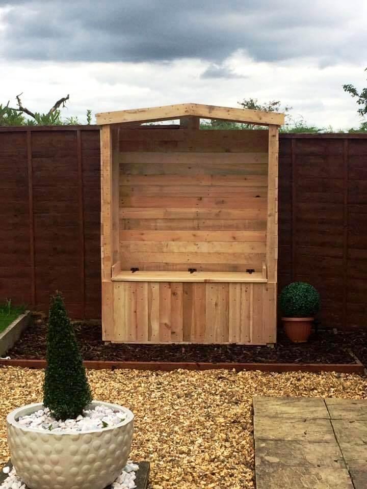 handcrafted pallet garden arbor