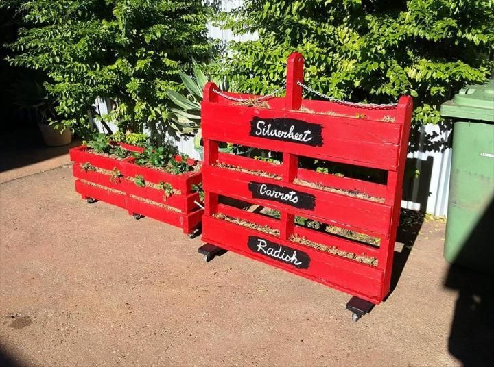 recycled red painted pallet vertical planter