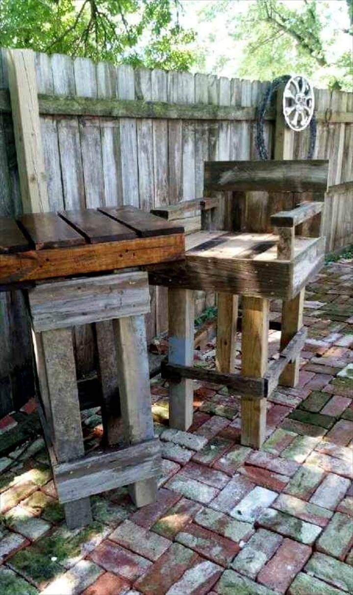 wooden outdoor bar table and bar chairs made out of pallets