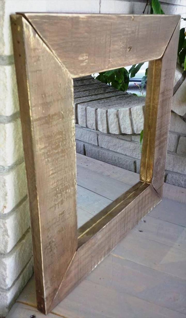 pallet rustic wall mirror