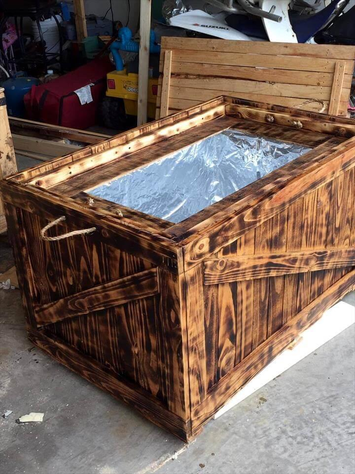 upcycled scorched pallet cooler