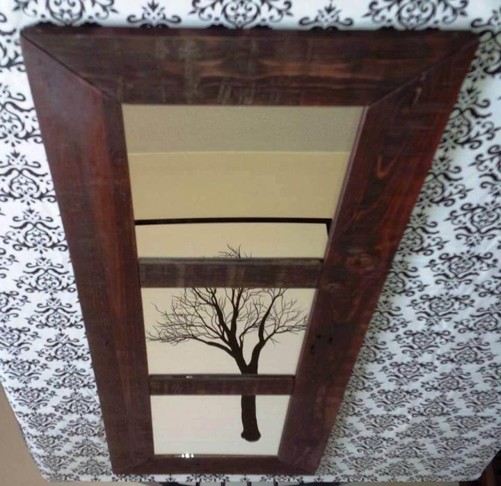 long wooden pallet mirror