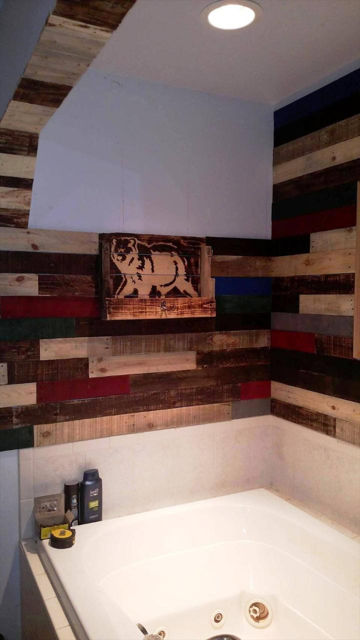 amazing pallet bathroom wall paneling project