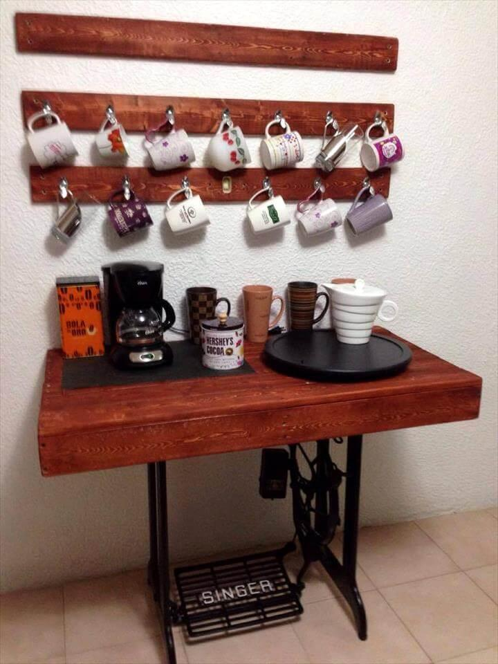 coffee station made of pallets and old sewing machine base