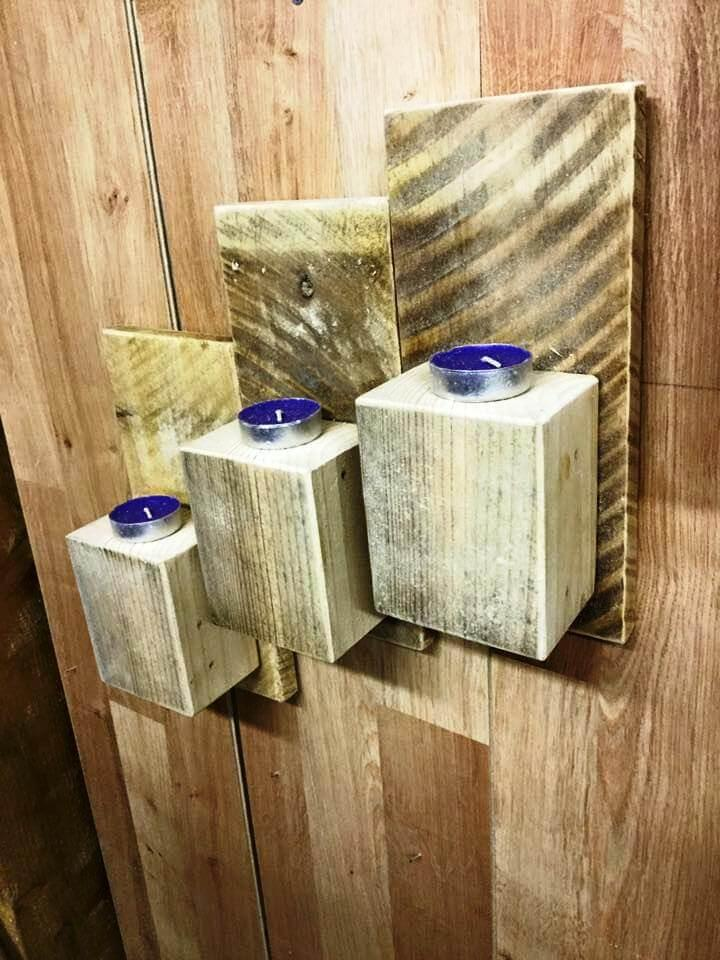 upcycled wooden pallet wall mounted candle holders