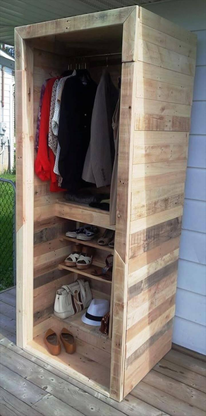 low-cost wooden pallet wardrobe or closet