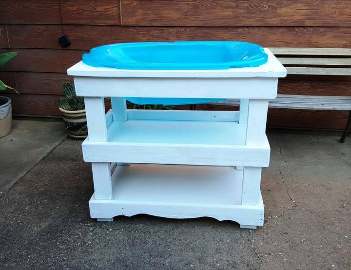chic white painted pallet baby bath stand