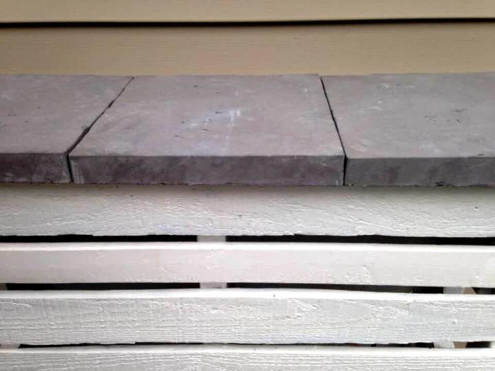 upcycled white painted pallet bar with concrete tile top