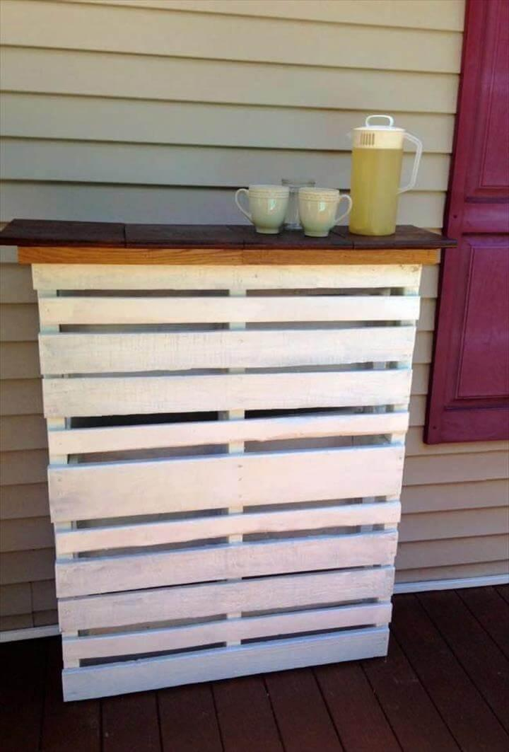 white painted pallet deck bar with wooden top