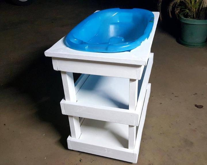 white painted pallet baby baath stand