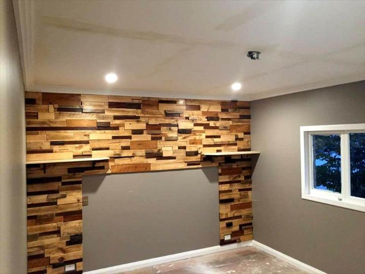 wooden pallet bedroom background feature wall
