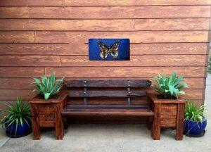 recycled pallet bench seat and planter boxes