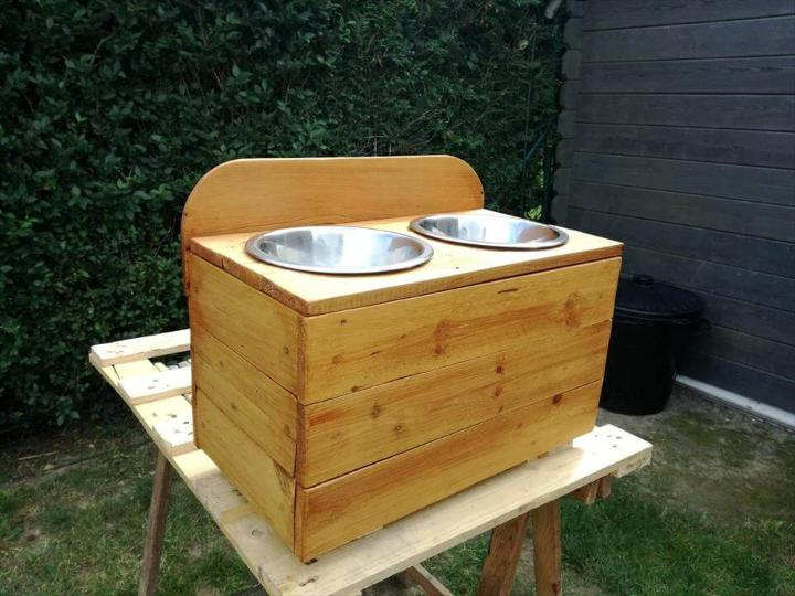 sturdy wooden pallet dog bowl stand