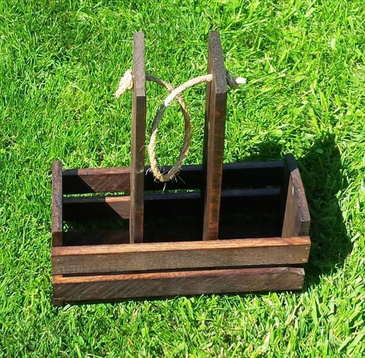 handmade wooden pallet drink caddy