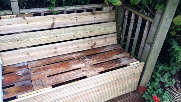 Repurposed Wooden Pallet Outdoor Sectional Sofa Frame