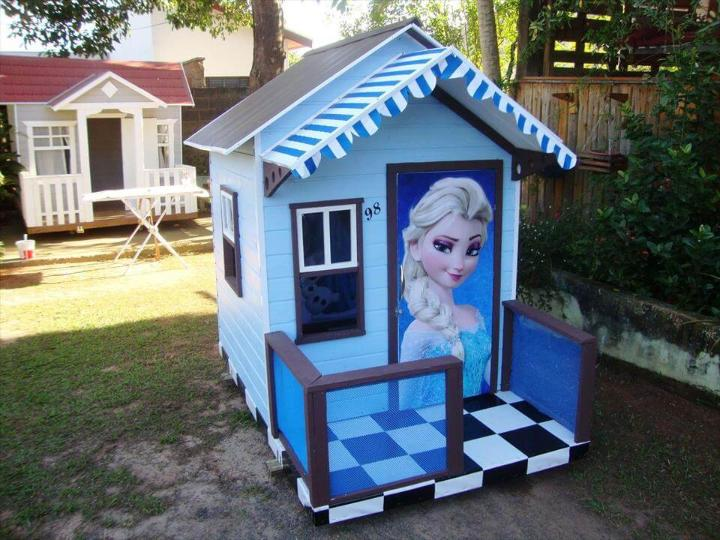 recycled pallet barbie playhouse