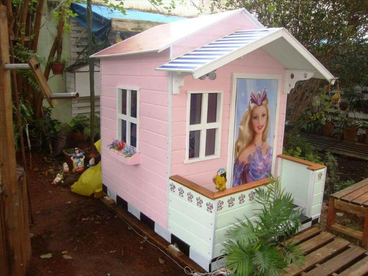 colorful pallet barbie playhouse