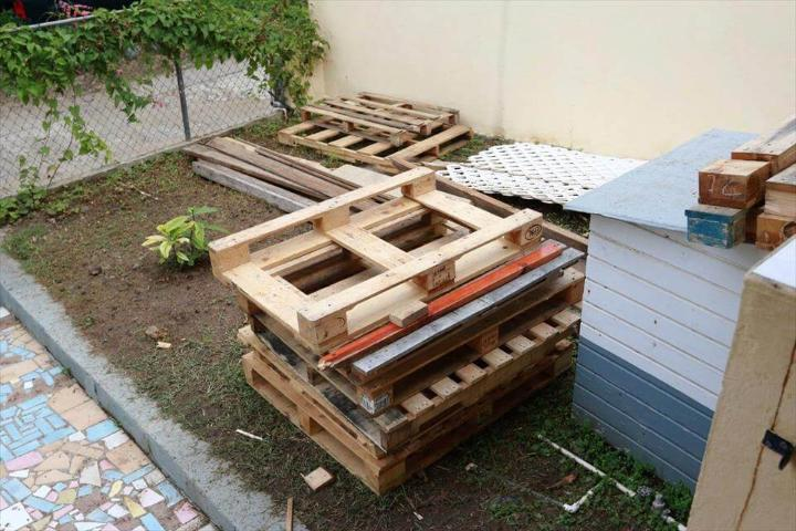wooden pallet deck installation