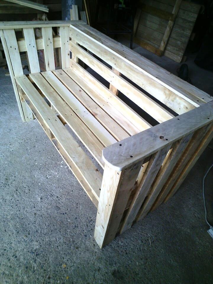 rustic wooden pallet outdoor bench