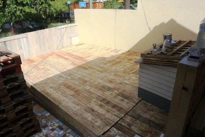 handmade wooden pallet deck