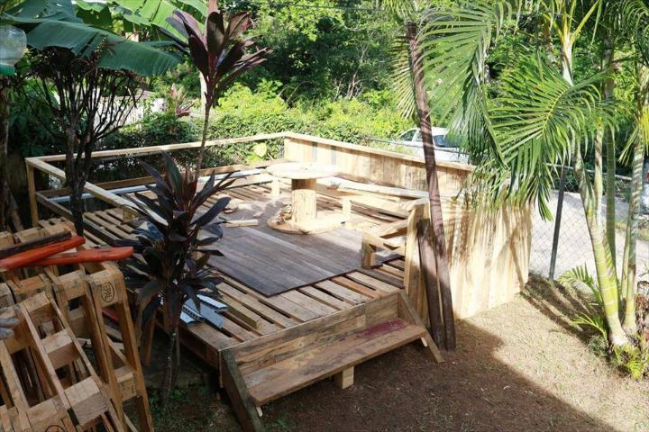 wooden pallet terrace made out of pallets