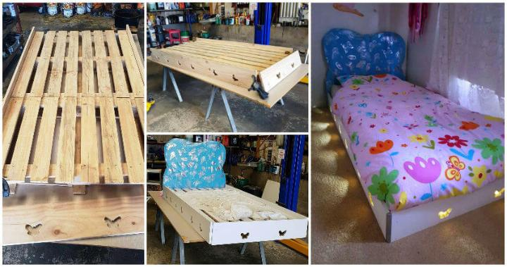 Pallet and Old Wood Toddler Bed with Lights - Easy Pallet ...