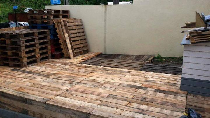 recycled pallet home deck project