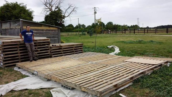 pallet garden shed floor installation
