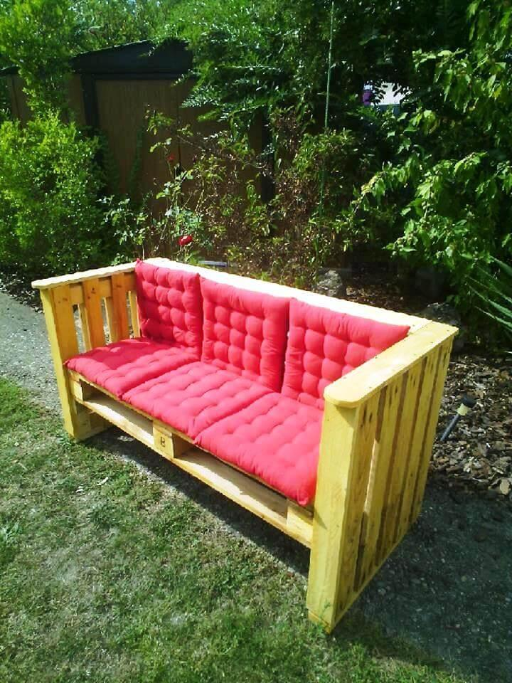 hand-built yet stylish pallet outdoor cushioned bench