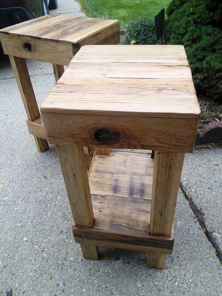 repurposed wooden pallet stools