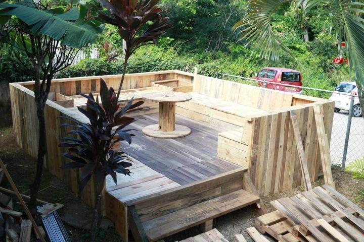 robust wooden pallet terrace