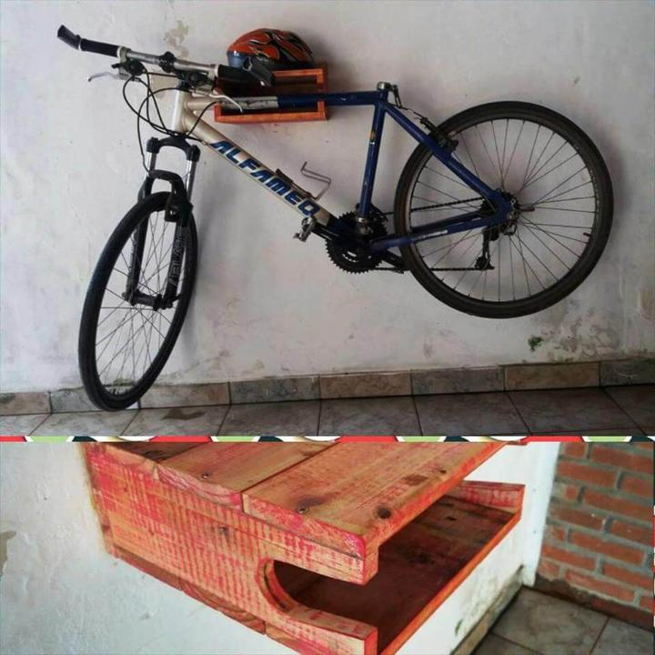 handcrafted wall hanging pallet bicycle rack