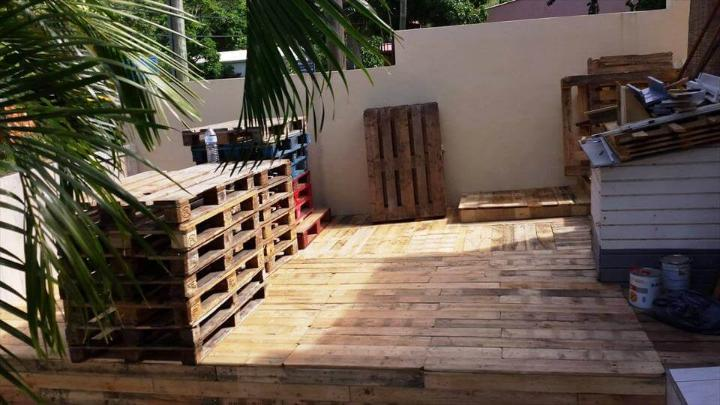 beautiful wooden pallet deck