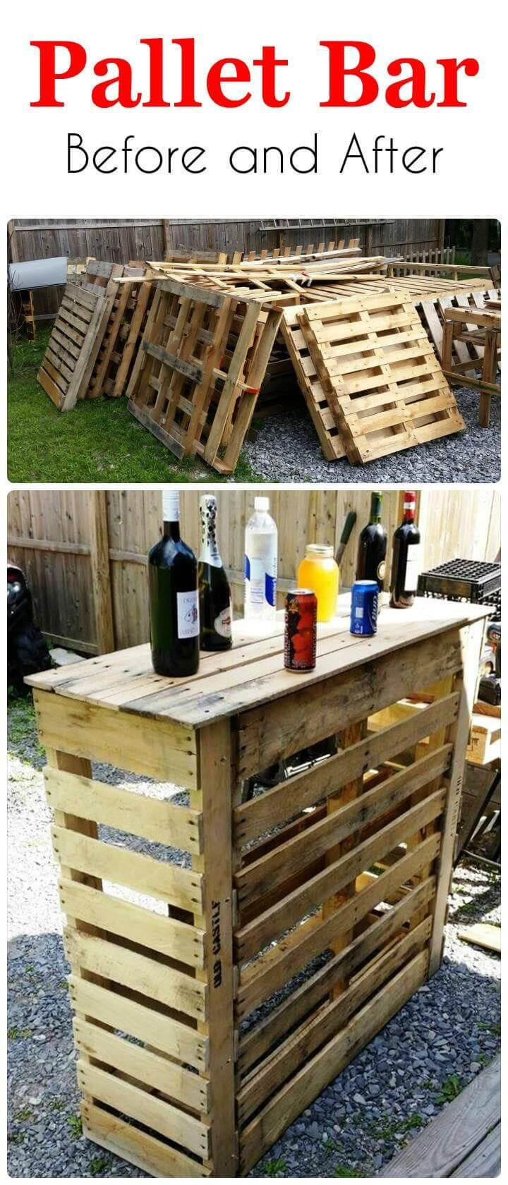 Before And After Pallet Bar Easy Pallet Ideas