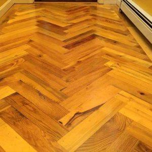 upcycled pallet chevron accent wood flooring