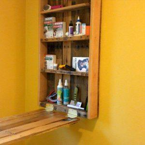 custom folding down wall hanging work bench with tool rack