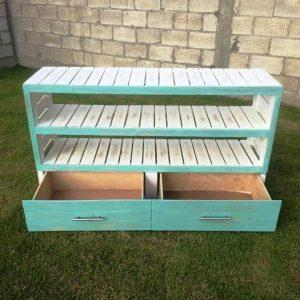 low-cost wooden pallet sideboard with 2 drawers