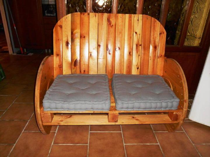 upcycled pallet and spool bench