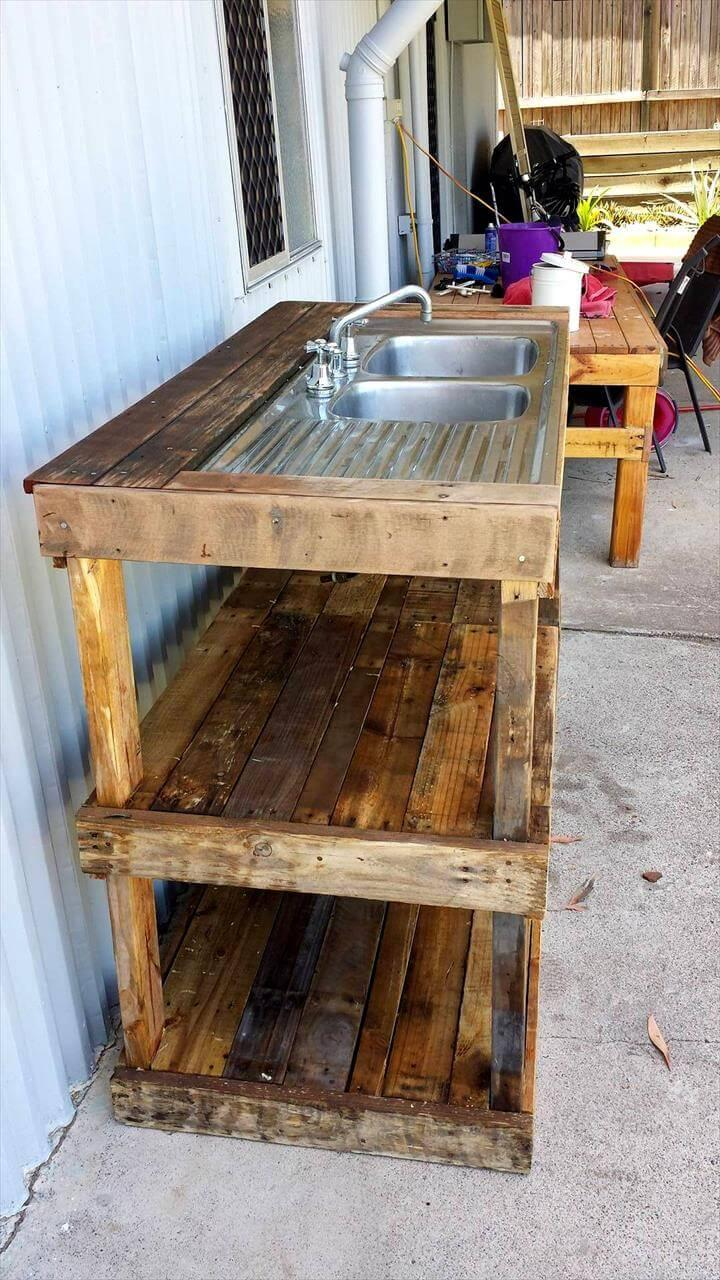 repurposed pallet wood outdoor fish filleting station