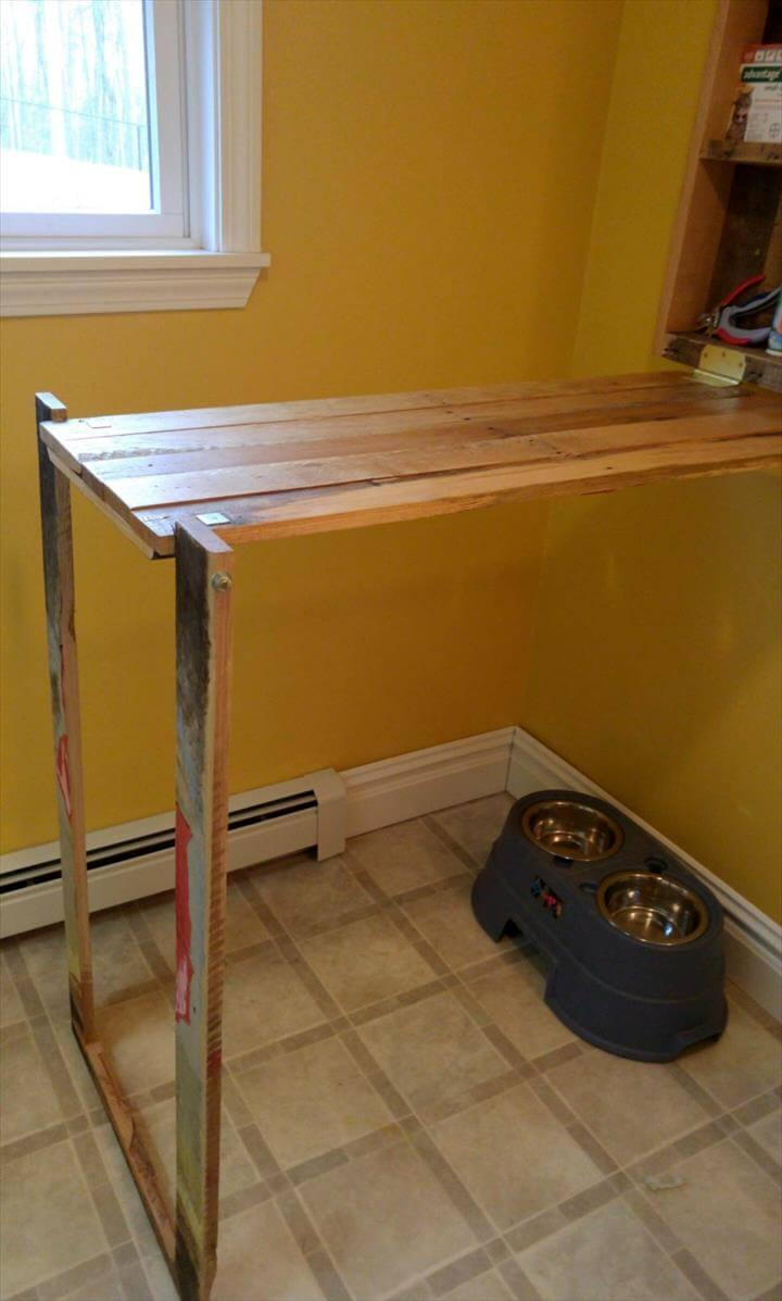 upcycled pallet folding down desk or workbench