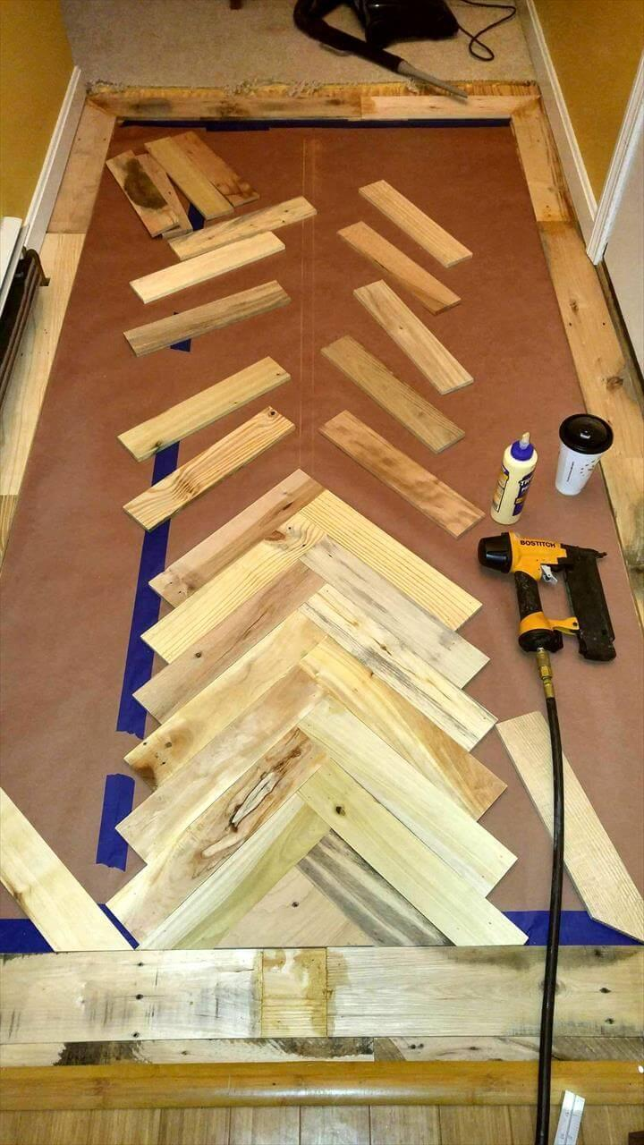 how to install a pallet chevron accent wood floor