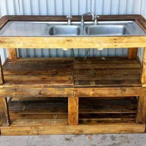 upcycled pallet fish filleting station