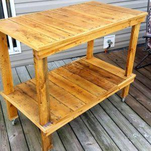 self-made pallet laundry room cart